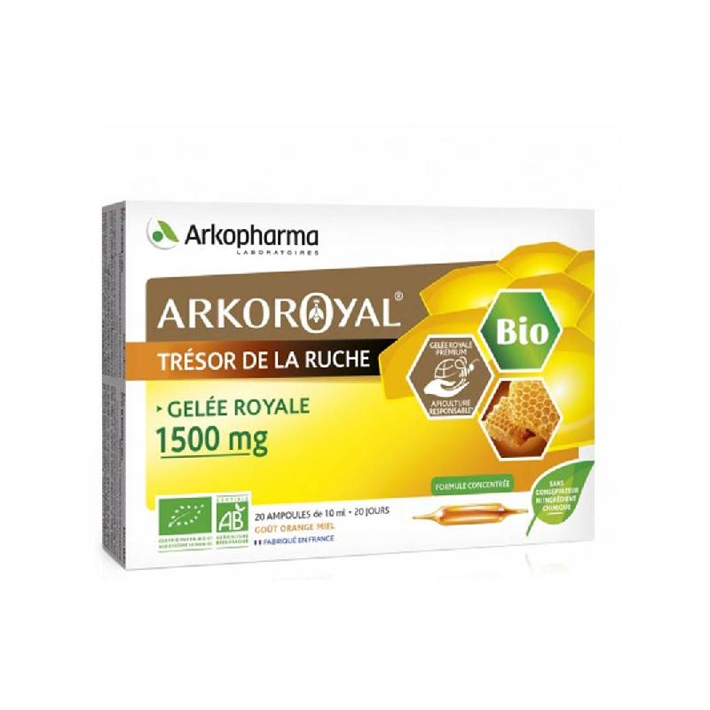Achetez ARKOROYAL Gelée royale bio 1500 mg Solution Buvable 20 Ampoule de 10ml