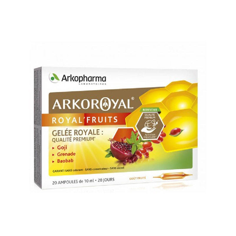 Achetez ARKOROYAL ROYAL'FRUITS Gelée royale Goji Grenade Baobab Solution Buvable 20 Ampoule de 10ml