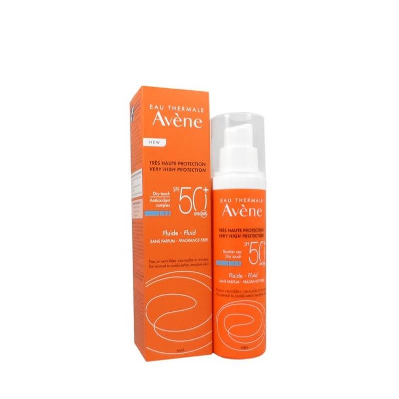 Achetez AVENE SOLAIRE SPF50+ Fluide sans parfum Flacon Pompe de 50ml