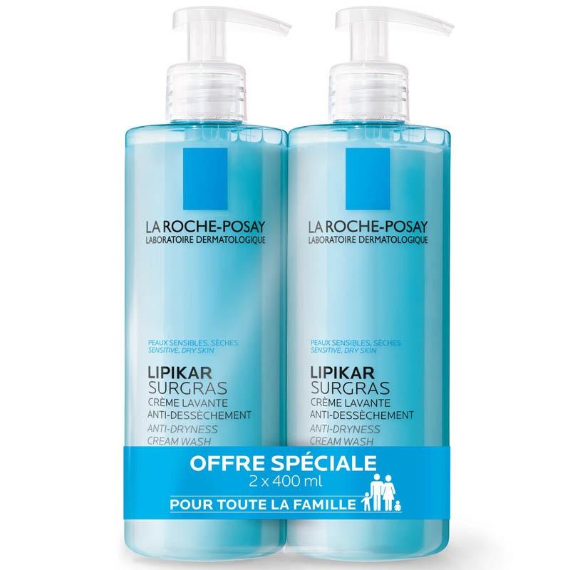Achetez LIPIKAR LA ROCHE POSAY Savon Liquide surgras peau sèche et très sèche 2 Tube de 400ml