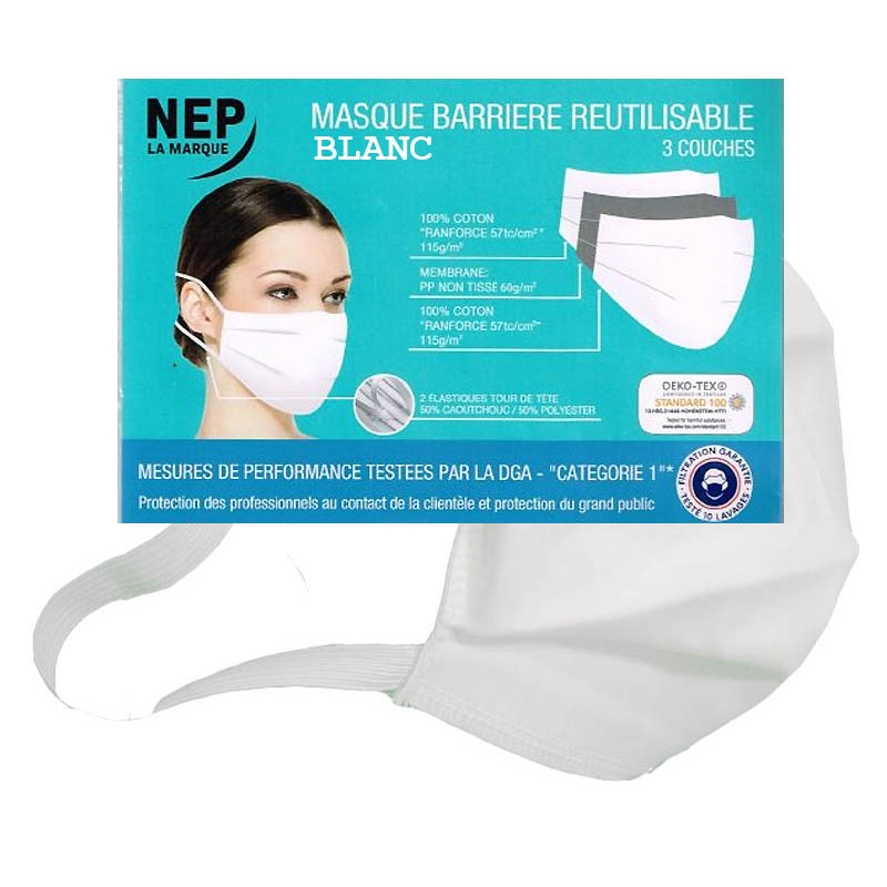Achetez MASQUE BARRIERE REUTILISABLE DGA CAT 1 Blanc NEP