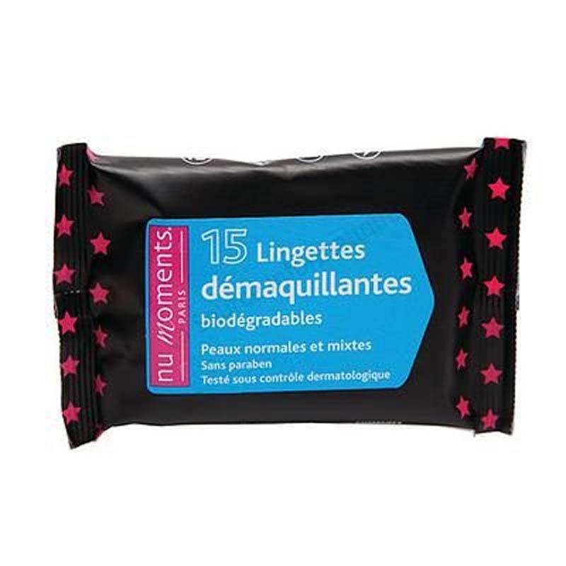 Achetez NU MOMENTS Lingette démaquillante peau normale Sachet de 15