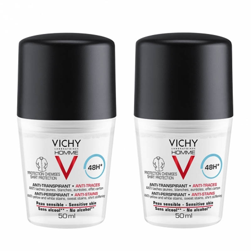 Achetez VICHY HOMME Déodorant anti-transpirant anti trace 48H 2 Billes de 50ml